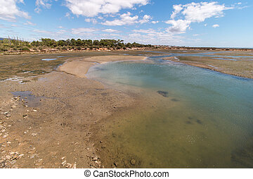 Wide view of the Ria Formosa marshlands located in the Algarve, Portugal.