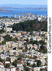Wide view on Alcatraz from Twin Peaks, San Francisco