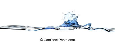 Wide water surface with water splash crown