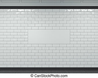 Wide white banner in subway. 3d rendering - Wide white...
