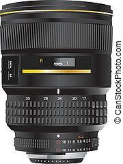 wide zoom lens color vector illustration