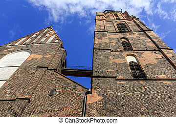 Wideangle, distorted photo of St. Elisabeth's Church, Wroclaw, P