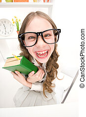 funny girl with green book - wideangle distorted picture of...
