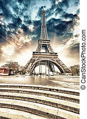 wideangle, jábega, eiffel, paris., river., magnífico, torre, escaleras, vista