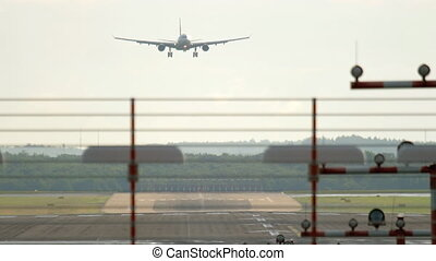 Widebody airplane approaching