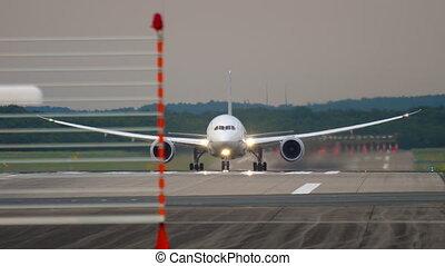 Widebody airplane departure - Widebody airplane accelerate...