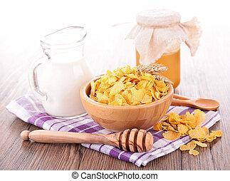 widelec, śniadanie, cornflake, mleczny