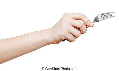 widelec, biały, odizolowany, samicza ręka
