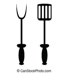 widelec, grill, łopata