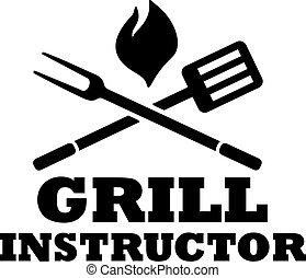 widelec, grill, instruktor, bbq, szpachelka