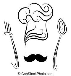 widelec, mistrz kucharski, łyżka, kapelusz