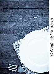 widelec, płyta, biały, drewno