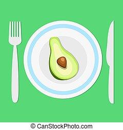 widelec, płyta, pojęcie, awokado, dieta, trzym!ć, pół, healhty, jeść, wektor, zielony, ilustracja, tło, cień, nóż, pień