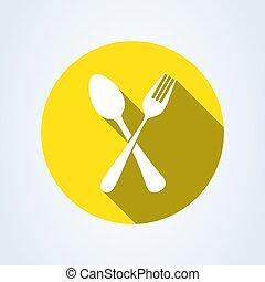 widelec, spoon., ilustracja, odizolowany, tło., wektor, krzyżowany, biały, ikona