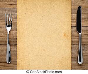 widelec, stary, papier, drewniany, tło, nóż