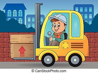 widelec, wizerunek, 3, temat, dźwig, wózek