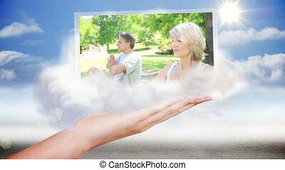 wideoklipy, na wolnym powietrzu, yoga, przedstawiając, ręka