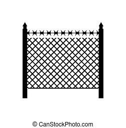 widerhaken versehener zaun, protection., schutz, grenze, umrandungen, wire.