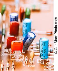 widerstände, hauptplatine, kondensatoren, andere, komponenten, aufgestellt, elektronisch
