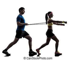 widerstand, trainieren, band, trainer, mann- frau, fitness, gummi