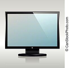 widescreen, conduzido, monitor, tv, ou, internet, lcd