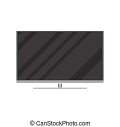 widescreen, conduzido, tv, frontal, modernos, lcd, ou, vista