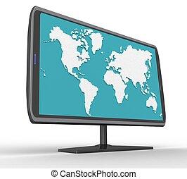 widescreen, grafické pozadí, tft, neposkvrněný, vystavit, 3
