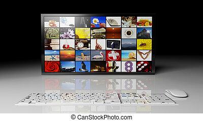widescreen, hd, monitores, com, imagens múltiplas