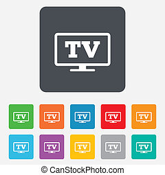 Widescreen TV sign icon. Television set symbol. Rounded...