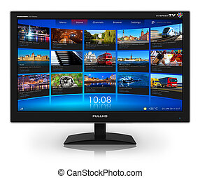 Widescreen TV with streaming video gallery isolated on white reflective background *** All photos used here are my own from my own portfolio and all text labels are fully abstract