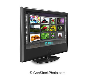 Widescreen TV with streaming video gallery isolated on white reflective background