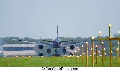Widevody airplane landing - Widebody airplane landing on...