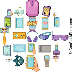 Widget icons set, cartoon style - Widget icons set. Cartoon...
