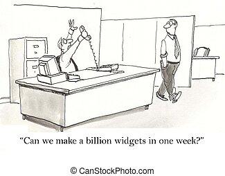 Widgets - excited worker has big order