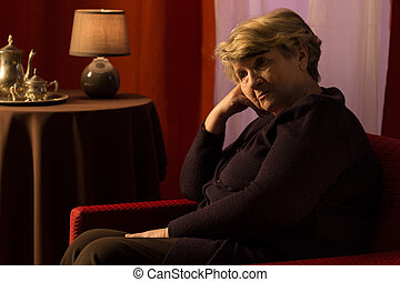 Widow being in mourning - Close-up of depressed widow being...