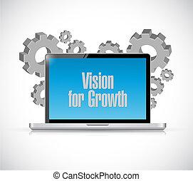 widzenie, dla, wzrost, laptop, znak, handlowe pojęcie