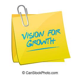 widzenie, dla, wzrost, notatka, poczta, znak, handlowe pojęcie