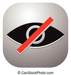 widzenie, oko, don't, znak, strikethrough, symbol, nie, -, szkodliwy, patrzeć, pojęcia, kreska, prapremiera, wizerunek
