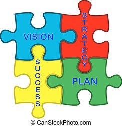 widzenie, plan, powodzenie, strategia