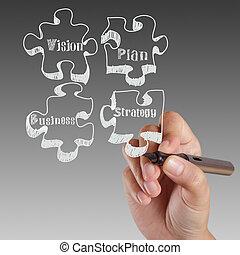 widzenie, writing., strategia, powodzenie, ręka, plan