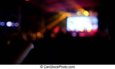 widzowie, koncert, -, muzyka, de-focused, zamazany, rusztowanie