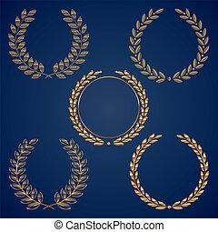 wieńce, złoty, komplet, wektor, laur