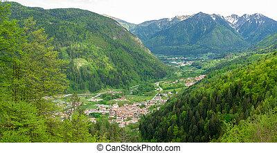 wieś, góra, otoczony, prospekt, góry