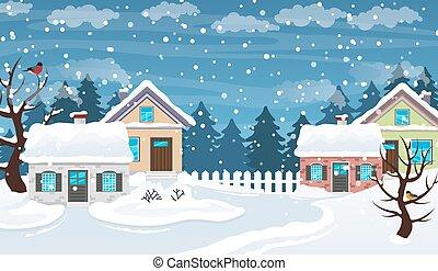 wieś, scena, zima