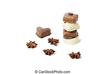 wieża, biały, cukierek, czekolada