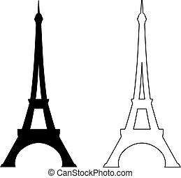 wieża, eiffel, biały
