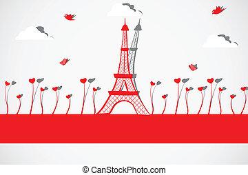 wieża, eiffel, miłość, roślina