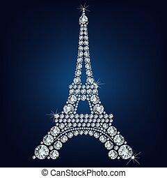 wieża, eiffel, paryż, -