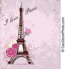 wieża, eiffel, róże