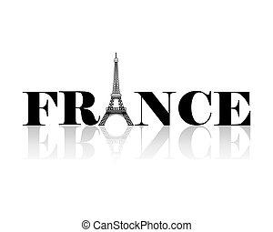 wieża, eiffel, sylwetka, francja